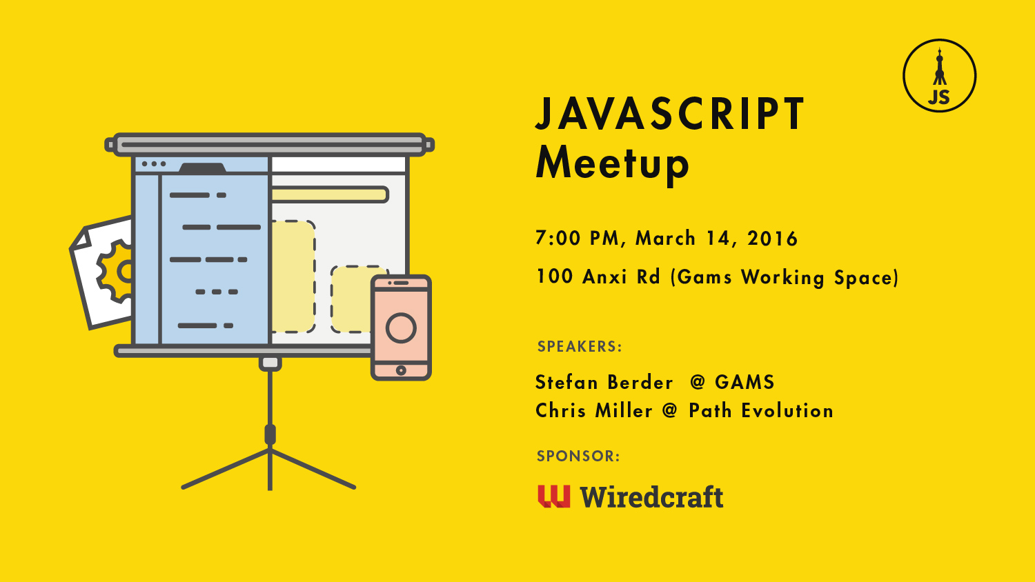 JavaScript Meetup Shanghai March 14th Flier