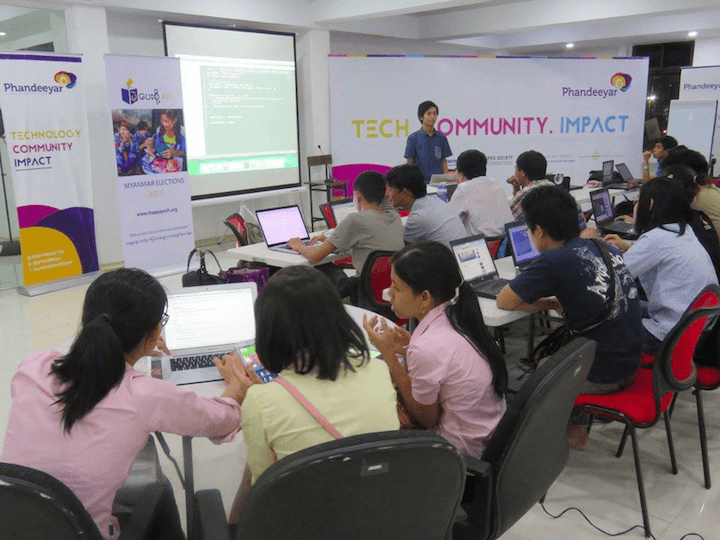 MaePaySoh Hack-a-thon teams at work