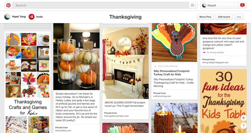 A Pinterest search for Thanksgiving
