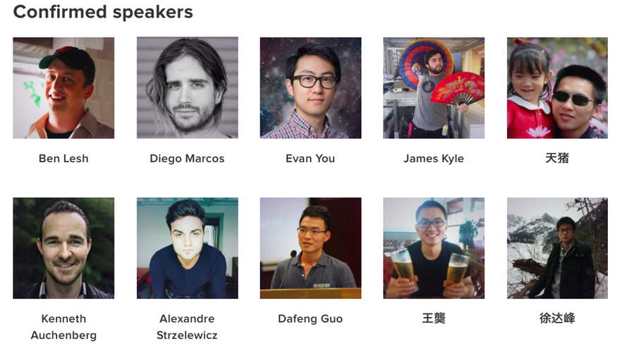 Confirmed speakers for NingJS - JSConf China 2016