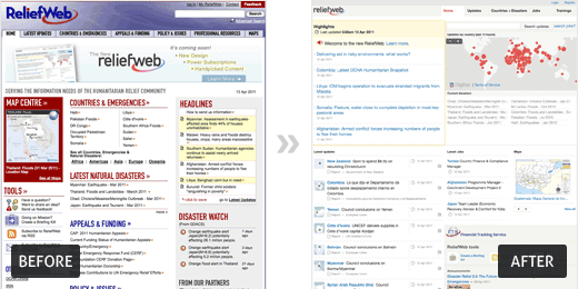 The ReliefWeb overhaul; old and new sites