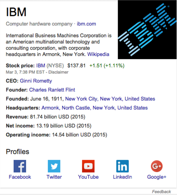 Knowledge graph search result