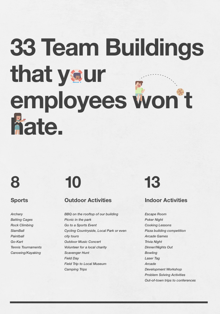 33 Team Buildings that your employees won't hate