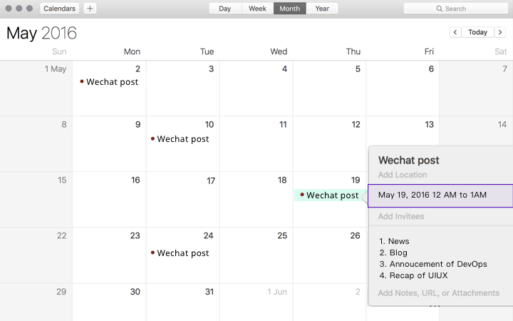 WeChat marketing tips, calendar
