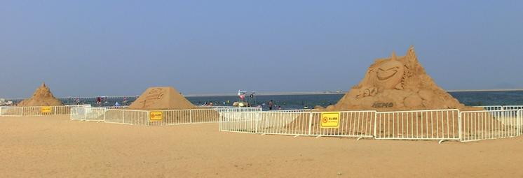 Sand sculptures at Jinshan City Beach