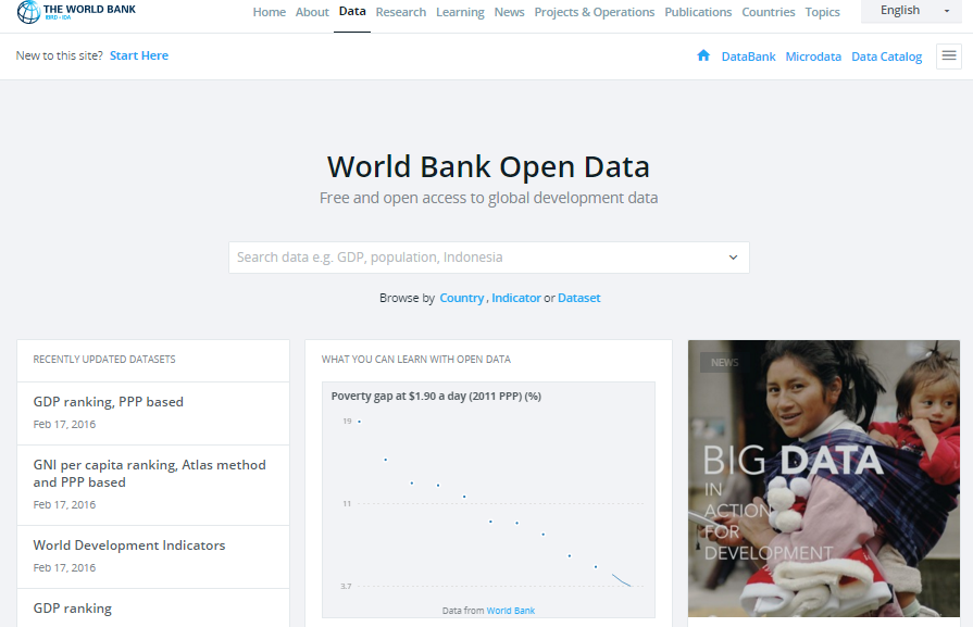 World Bank open data site homepage