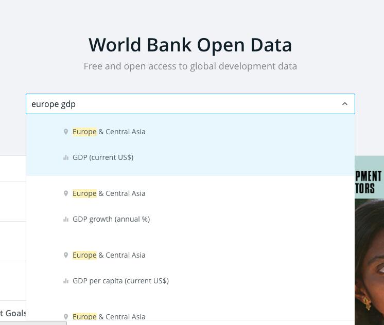 World Bank open data site