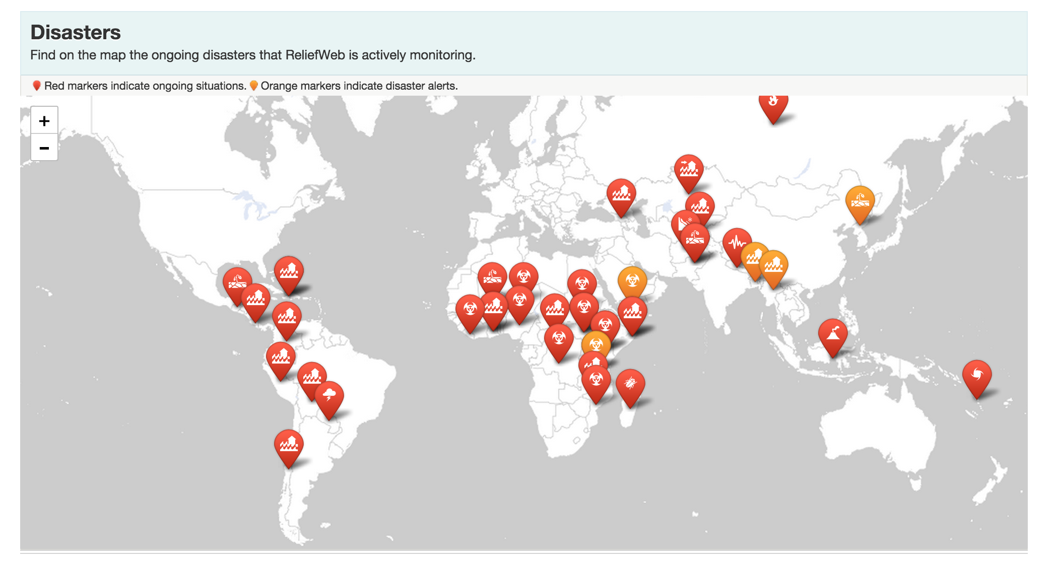 Disasters Mapped on ReliefWeb